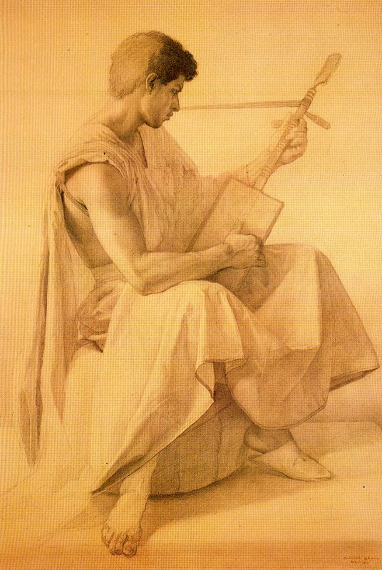 Claudio Bravo guitarrista 1990 lápiz conté sobre papel beige